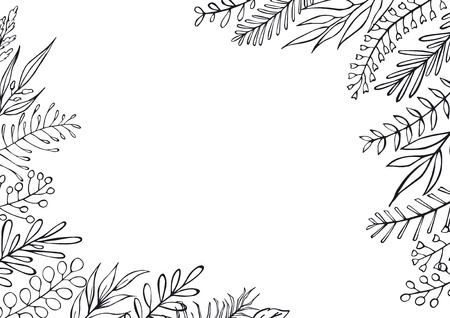 black and white floral hand drawn farmhouse style outlined twigs branches frame border background with place for text