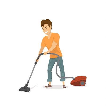 Cheerful funny guy at house chores, vacuum cleaning at home, isolated vector illustration Иллюстрация