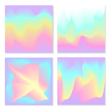 blurred liquid electric wavy holographic futuristic abstract soft vibrant colors flow blend gradient square backgrounds set. Ilustrace