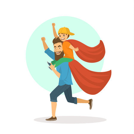 funny father and son having fun, playing together superheroes, boy sitting on dads shoulders, happy fathers day fun vector illustration scene