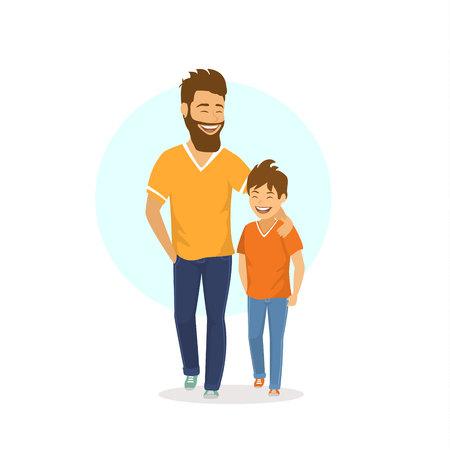 一起走的快乐的微笑的笑的父亲和儿子一起走,谈话