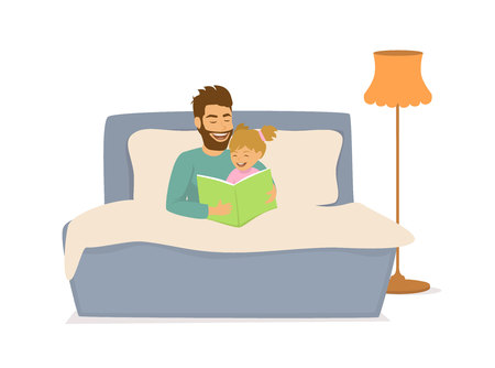 father reading book to her daughter before she sleeps Vector illustration. Illusztráció