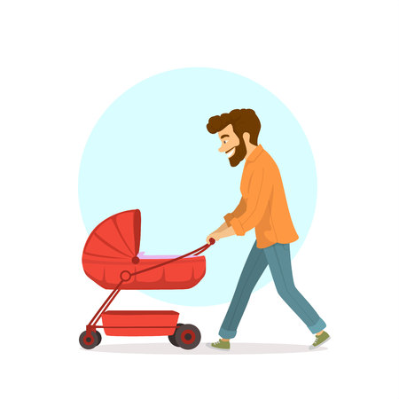 happy funny father walking with newborn child in a pram Vector illustration. Illustration