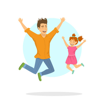 happy excited father and daughter jumping for joy Illustration
