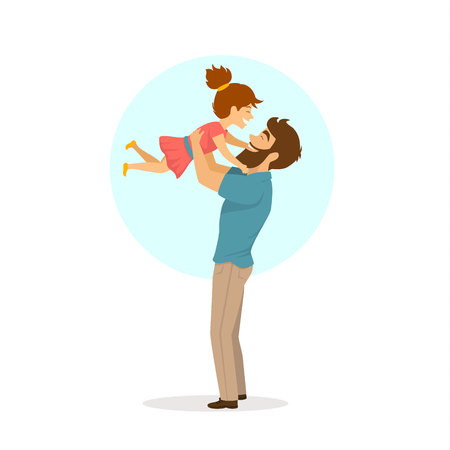 happy cheerful father and daughter playing around, dad lifting up his girl in the air, isolated cute cartoon vector illustration Vectores