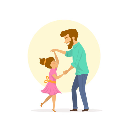 happy smiling father and daughter dancing 矢量图像