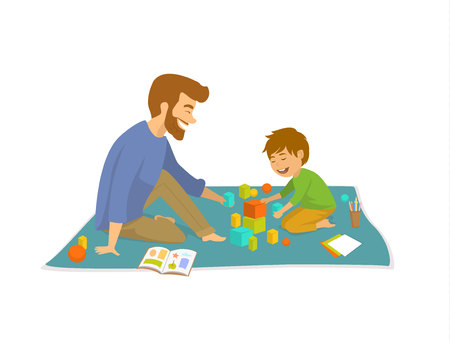 man and boy, father and son playing on floor at home developing games Vector illustration.
