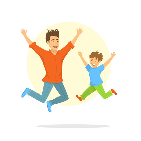 happy excited father and son jumping for joy Illustration