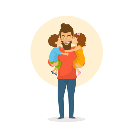 children, boy and girl, daughter and son kissing  hugging their father, happy fathers day congratulations vector illustration