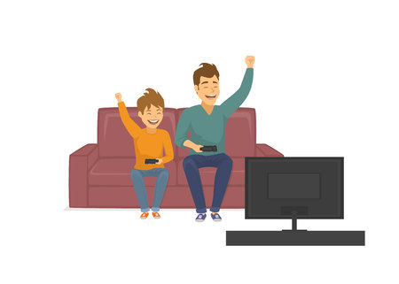 happy funny father and son playing video games on tv, sitting on sofa at home, fathers day fun vector illustration Иллюстрация