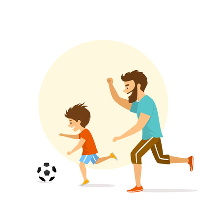 cute excited cheerful active family, man and boy, father and son playing soccer, having fun together Illustration