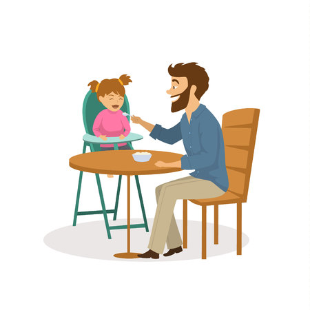 cheerful father feeding hiis daughter with a spoon cute fun vector illustration