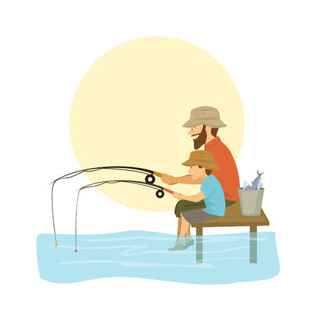Father and son fishing on a lake, catching fish.