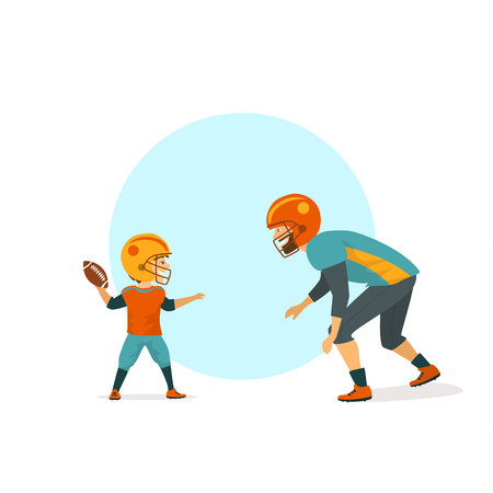 Cheerful cute father and son playing american football isolated vector illustration.