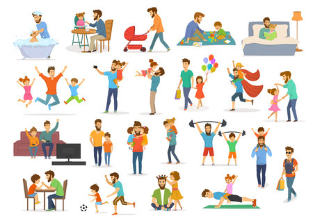 Father and child collection, having fun, jump, walk, dance, play superhero, soccer, video game, take selfie, hug kiss, read book, exercise, feeding and bathing, man with pram and baby wrap vector illustration isolated scenes.