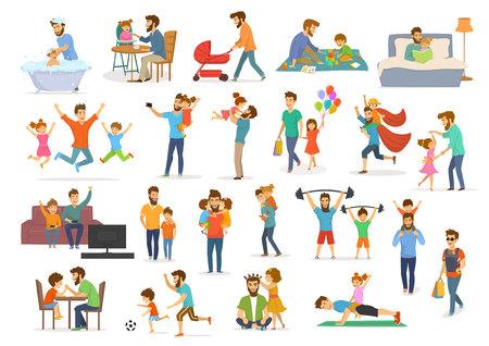 Kolekcja ojca i dziecka, zabawa, skakanie, spacer, taniec, gra w superbohatera, piłka nożna, gra wideo, robienie selfie, całowanie przytulanie, czytanie książki, ćwiczenia, karmienie i kąpiel, mężczyzna z wózkiem i chustą wektorową ilustracja na białym tle sceny. Ilustracje wektorowe