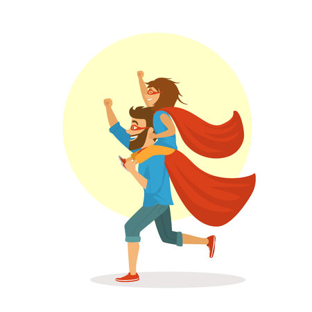 Funny father and daughter having fun, playing together superheroes, girl sitting on dads shoulders, Happy Father's day vector illustration scene.