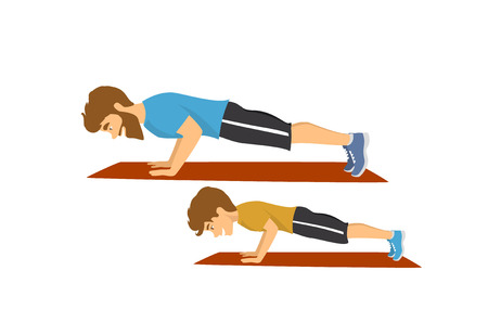 Healthy active family lifestyle, father and son doing push ups exercises workout together, isolated vector illustration scene.