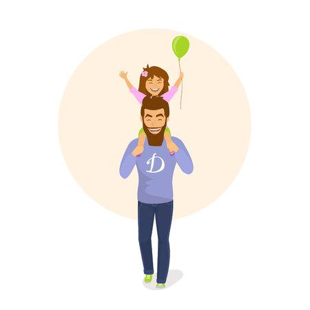 Feliz padre e hija caminando juntos, la niña está sentada sobre los hombros de los padres. Ilustración de vector