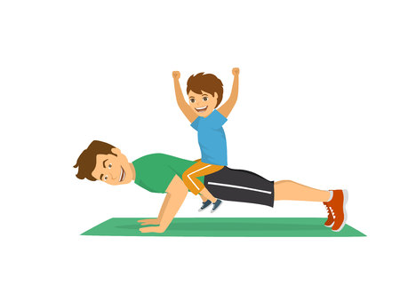 Father and son having fun training together, happy cheerful dad doing push ups sport workout exercise with boy sitting on his back humor vector illustration.