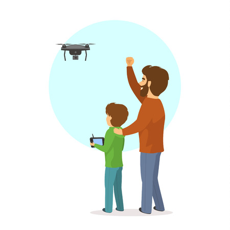Father and son flying piloting a drone isolated vector illustration scene.