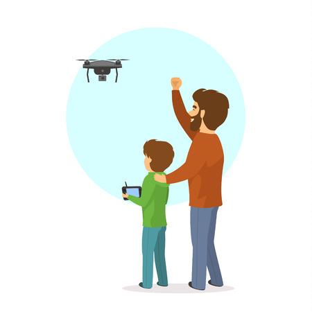 Vader en zoon vliegen die een hommel geïsoleerde vectorillustratiescène loodsen.