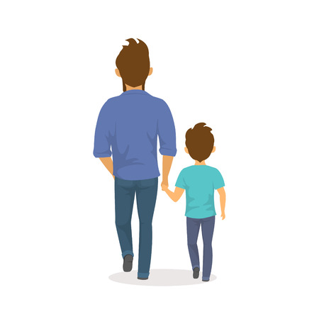Father and son walking together holding hands,happy fathers day backside view isolated vector illustration scene.