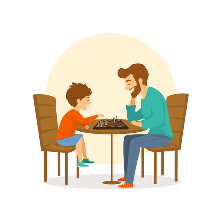 Father and son, man and boy playing chess together, fun isolated vector illustration scene.