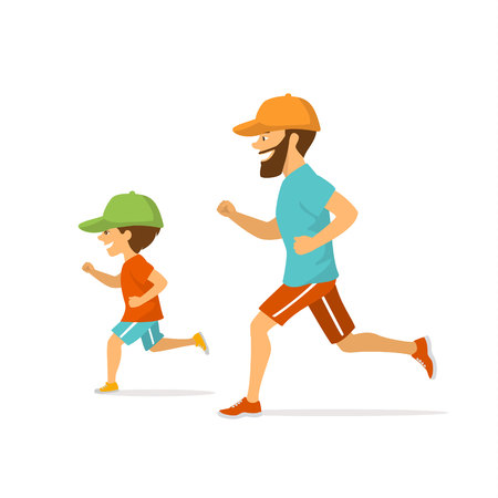 Father and son running jogging together, isolated vector illustration scene.