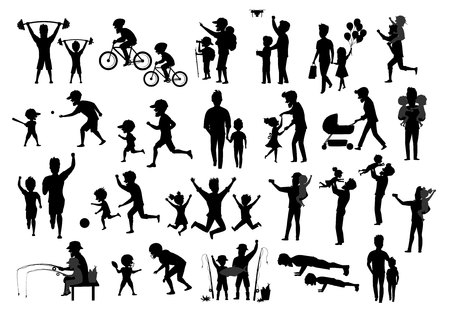 collection of father and kids children silhouette. man boy girl dance jump exercise ride bike walk run push ups jogging hike and camp, fishing, play baseball american football soccer, kiss and hug, take selfie