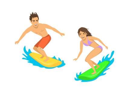 man and woman surfers isolated vector illustration