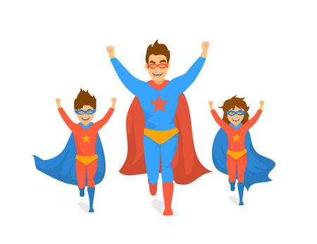 family, dad and kids, cute boy and girl playing superheroes, running excited in super hero costumes front view fun humor fathers day concept isolated vector illustration scene Illustration