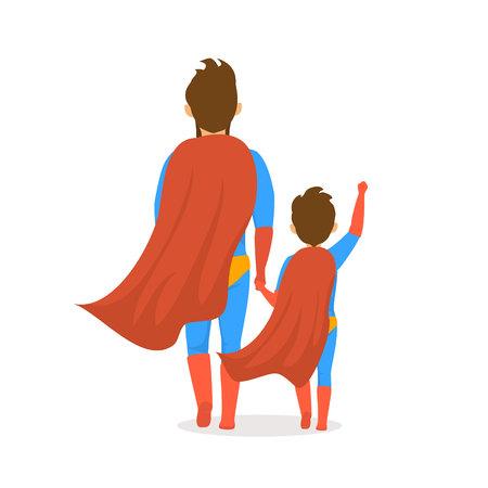 Fête des pères heureux isolé illustration vectorielle scène de vue arrière de dessin animé avec papa et fils vêtus de costumes de super-héros marchant ensemble main dans la main