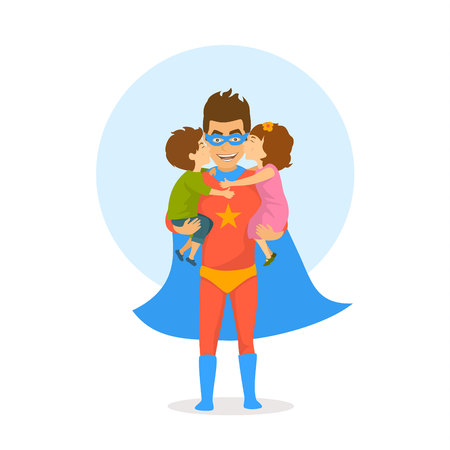 children boy and girl kissing hugging congratulating dad dressed as superhero with happy fathers day. funny humor isolated vector illustration cartoon scene Illustration