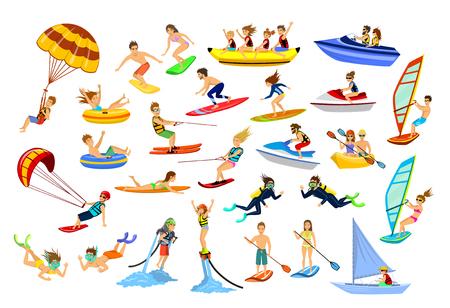 Estate sport acquatici in spiaggia, attività. Persone, uomo, donna, coppia, windsurf familiare, surf, jet ski, stand up paddleboarding, snorkeling, immersioni subacquee, tubing, speedboat e banana galleggiante, fly boarding, kayak, parapendio, wakeboard, kitesurf, sci nautico,