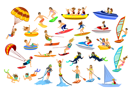 Summer water beach sports, activities. People, man, woman, couple, family windsurfing, surfing, jet skiing, stand up paddleboarding, snorkeling, scuba diving, tubing, riding speed boat and banana floa 일러스트
