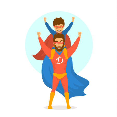 happy fathers day isolated vector illustration cartoon fun scene with dad and son dressed in superhero costumes