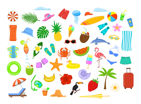 summer time beach holidays travel design elements, decoration: mattress, suitcase, umbrella, sunchair, palm tree, leaf, fruits, pineapple, coconut drink, flip flops, bikini, hat, shirt, flamingo, surfboard, crab, cocktail