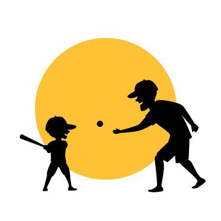 father and son playing baseball vector illustration silhouette scene