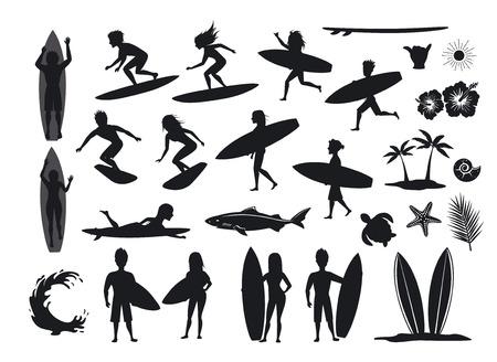 surfers silhouettes set. men and women surfing, riding waves, stand, walk, run, swim with surfboards, symbols design decoration, palm tree, leaf, turtle, shark, hand, hibiskus, wave, sun
