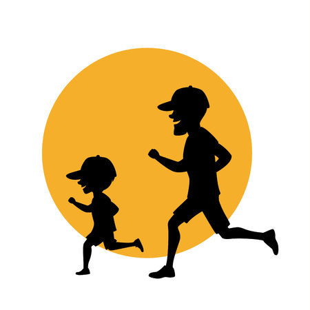 father and son, man and boy running exercising jogging together silhouette vector illustration scene