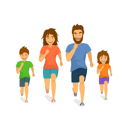 active family man woman boy girl parents and children running jogging together front view cartoon isolated vector illustration scene Illustration