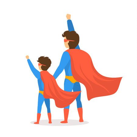 happy fathers day isolated vector illustration cartoon backside view scene with dad and son dressed in superhero costumes