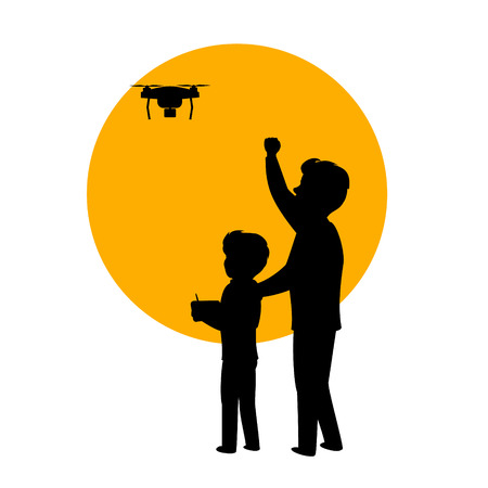 father and son flying piloting a drone isolated vector illustration silhouette scene Vectores
