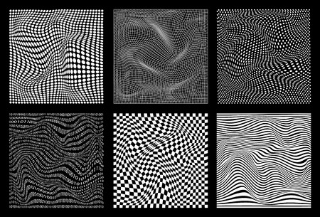 set of abstract wavy twisted distorted line dots squares binary code black and white textures backgrounds