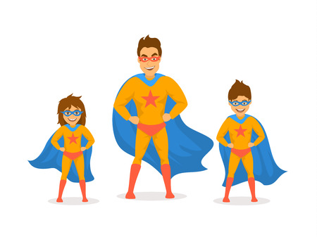 dad and kids, cute boy and girl playing superheroes,dressed  in super hero costumes front view fun humor fathers day concept isolated vector illustration scene