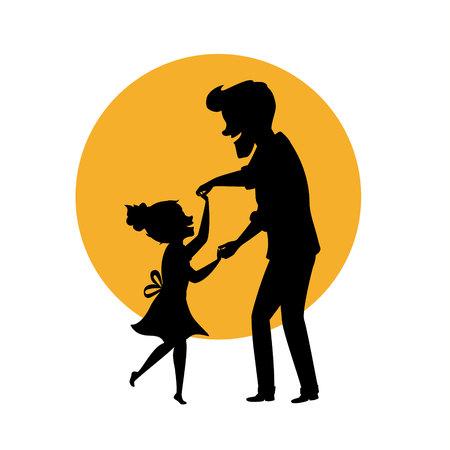 silhouet van vader en dochter dansen samen hand in hand geïsoleerde vector illustratie scène