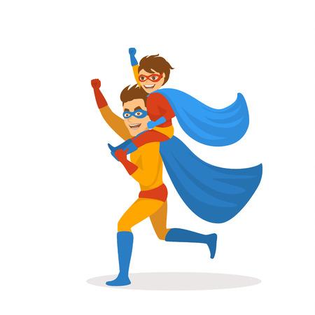 padre e hijo jugando superhéroes vestidos con disfraces corriendo juntos, niño sentado sobre los hombros de los padres, escena de ilustración de vector de día de padres divertido