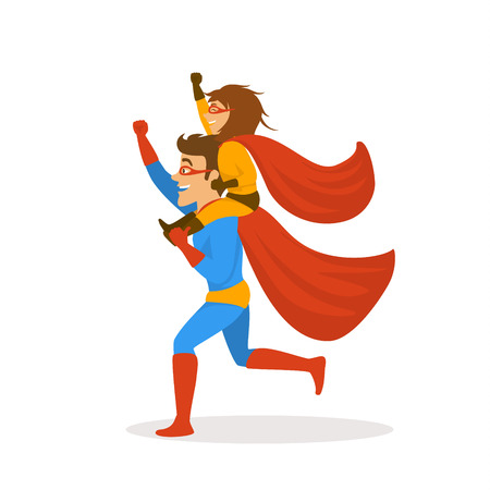 father and daughter playing superheroes dressed in costumes running together,girl sitting on dads back shoulders , funnny fathers day isolated vector illustration scene