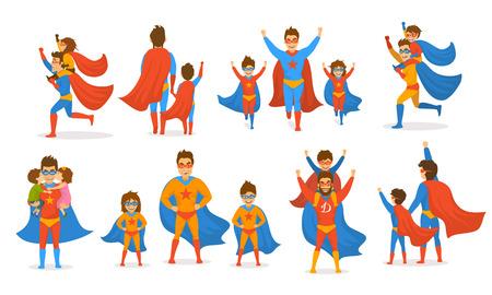 Feliz día del padre concepto aislado ilustración vectorial conjunto de escenas, papá y niños, niño y niña jugando superhéroes, vestidos con trajes de superhéroe